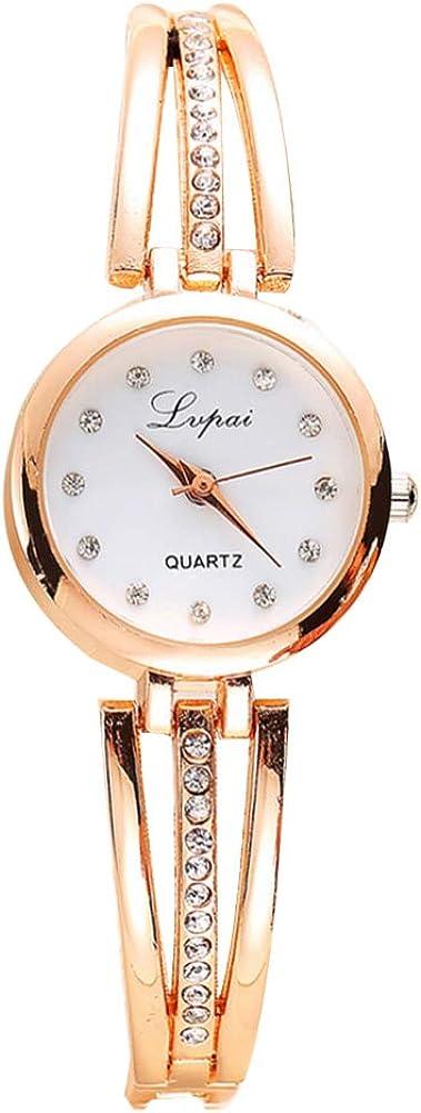 Wal Front - Reloj analógico de cuarzo para mujer con correa de decoración de diamantes de imitación