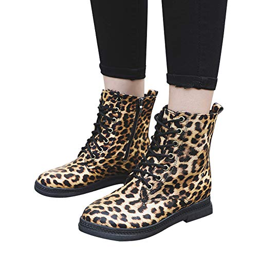 (Outtop(TM) Womens Martain Boot Ladies Square Heel Leopard Print Round Toe Keep Warm Shoes Snow Boots (US:7, Brown))