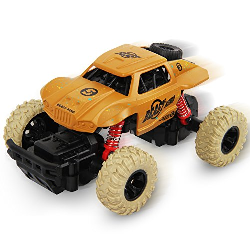 SAIBAIQI Pull Back Monster Trucks for Boys Kids, Vehicle Toy with 4 Independent Shock Springs, 4 Wheel Drive Friction Powered Monster Truck Race Car Gift for Age 3-7 Year Old Toddlers Girls Baby