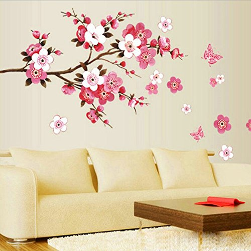 [Plum flower Tree Butterfly Art Vinyl Wall Sticker Decal Mural Home Decor DIY] (Creative Costumes Nyc)