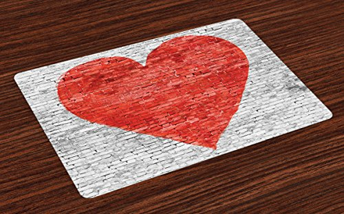 Lunarable Brick Wall Place Mats Set of 4, Love on Wall Romantic Feelings Heart Shape Street Pattern, Washable Fabric Placemats for Dining Room Kitchen Table Decor, White Grey