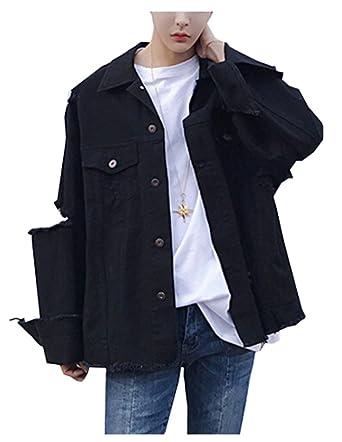 Lifehe Men Casual Loose Fit Boyfriend Distressed Denim Jacket