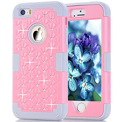 iPhone 5s Case, HOcase Rhinestone-Studded Bling Series, Durable Silicone Bumper and Hard PC Shock & Scratch Resistant Case for Apple 4 inch iPhone 5s - Light (I Phone 5s Case In Pink)