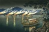 """Japanese Art Print """"Nagaragawa Cormorant Fishing"""" by Tsuchiya Koitsu"""