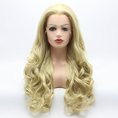Meiyite Hair Wavy Long 26inch Two Tone Honey Blonde Mix Half Hand Tied Heat Resistant Synthetic Lace Front Wigs ()