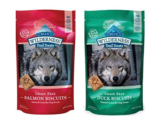 Blue Buffalo Wilderness Trail Treats Grain-Free Dog Biscuits 2 Flavor Variety Bundle: (1) Duck, and (1) Salmon, 10 Ounces For Sale