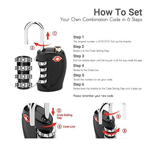 CFMOUR TSA Suitcase Locks - 1, 2, 3, 4, 5, 6 Pack 4-Dial Travel Combination Security Padlock for Suitcases Luggage Case Bag Code Lock - Black (Pack of 3)