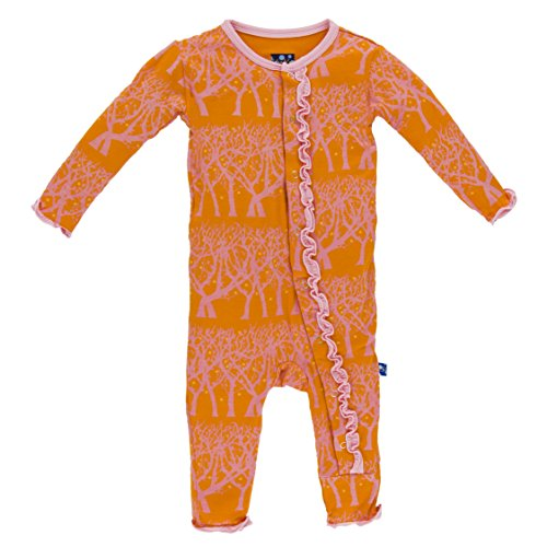 KicKee Pants Little Girls Print Muffin Ruffle Coverall - Sunset Fireflies, 9 - 12 Months