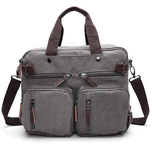 Gesu Vintage 3-way Convertible Briefcase Hybrid Laptop Backpack Messenger Bag for Men Women - Leather Briefcase Cotton