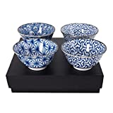 4 PCS.Japanese 6''D Bowl Rice Noodle Soup Bowl Geometric Pattern/Made in Japan