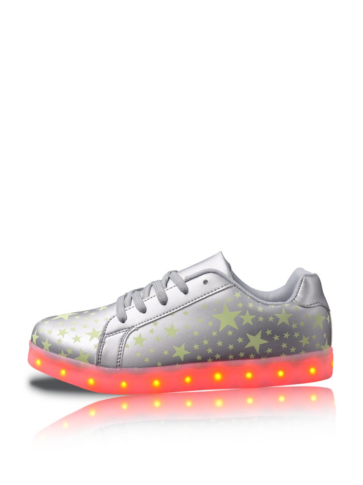 GleamKicks Women's Men's Classic Low Top Lace Up Star Color Light LED Sneaker Shoes B01IE8ST2A 5 M US|Silver