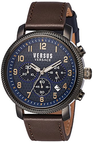 Versus-by-Versace-Mens-HOXTON-SQUARE-Quartz-Stainless-Steel-and-Leather-Casual-Watch-ColorBrown-Model-S70030016