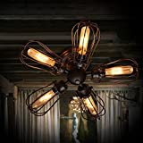 EFINEHOME Efine 5 Lights Vintage Industrial Pomelo Cage Close to Ceiling Lights and Wall Lamps Black Wrought Iron Fan Shape Max 300w Bar Home