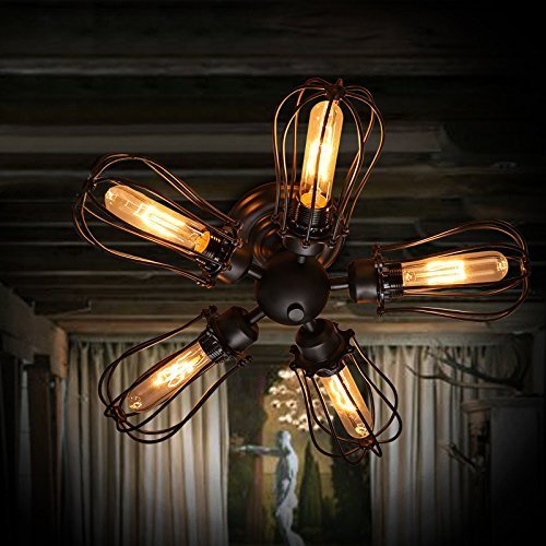 Vintage ceiling fan with light amazon efinehome efine 5 lights vintage industrial pomelo cage close to ceiling lights and wall lamps black wrought iron fan shape max 300w bar home aloadofball Gallery