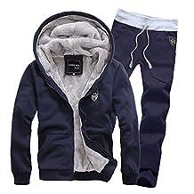 EkarLam® Men's Winter Hooded Fleece Athletic Sweatsuit Casual Tracksuit set2
