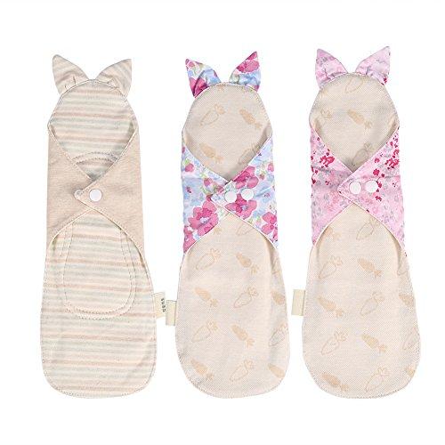 lergy Reusable/Washable Menstrual Pantyliners Feminine Day&Night Panty Liner Sanitary Cloth Pads (Night Pantyliners,Set of 3) (Cotton Cloth Menstrual Night Pad)
