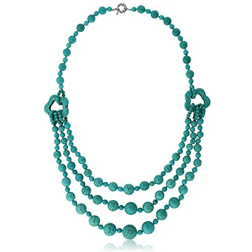 Bead Triple Strand Necklace - Gem Stone King 24