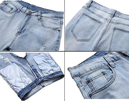 Uomo Pantaloni Stretch Skinny Slim Huixin Denim Casual Jeans Moda Retrò Chiusura Diritto Da Blu Strappato 7wg4xFtgqT