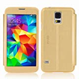 Devia Panoramic Series Premium Leather Folio Stand Case for Samsung Galaxy S5 with Auto Wake/Sleep Function Smart Cover-[Retail Packing]-Gold