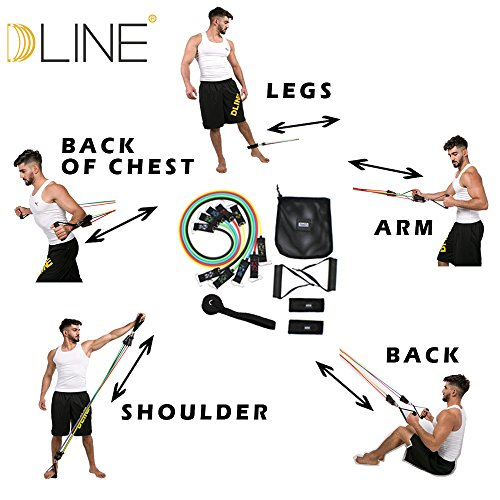 DLINE Resistance Bands with Handles,5 Exercise Bands,Door Anchor,Carrying Mesh Bag and 2 Ankle Straps-for P90X Resistance Training,Physical Therapy,Home Workouts by DLINE (Image #4)