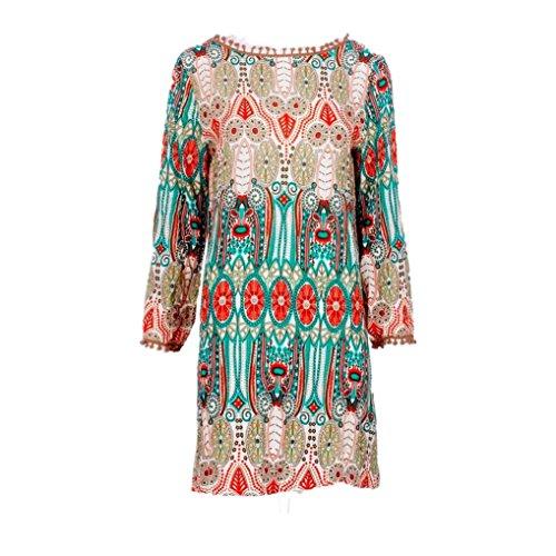 Bsgsh Rétro Femmes Imprimé Floral O- Manches Longues Cou Au-dessus Du Genou Court Vert Robe De Cause À Effet