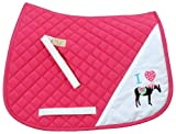 TuffRider I Heart Pony Girls Saddle Pad | Diamond Quilting Horse Riding Saddle Pad for Young Riders