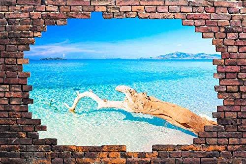 wall26 Large Wall Mural - Tropical Seascape Viewed through a Broken Brick Wall | 3D Visual Effect Self-adhesive Vinyl Wallpaper/Removable Modern Decorating Wall Art - 66