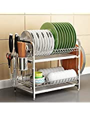 304 stainless steel dish rack drainer flat kitchen shelf storage rack double bowl cupstock chopping board kitchenware storage box supplies hand frame +cutting block +knife holder