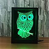 IMFFSE 3D LED Photo Frame, 3D Illusion LED Night Light, Creative Owl 7 Colors Gradual Changing Lamp Table Desk Deco Lamp Home Bedroom Decorations