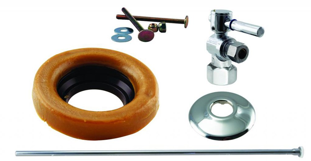Westbrass D1615TBL-26 Toilet Kit 1/4-Turn 1/2 in Ips Stop and Wax Ring with Lever Handle, Polished Chrome