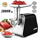 Hauture Electric Meat Grinder, Meat Mincer with 3 Grinding Plates and Sausage Stuffing Tubes for Home Use &Commercial, Stainless Steel/Silver/2000w
