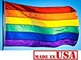 Cheap US Flag Factory 6'x10′ Rainbow Flag (Sewn Stripes) Outdoor SolarMax Nylon – Gay Pride Lesbian LGBT – Premium Quality – Made in America