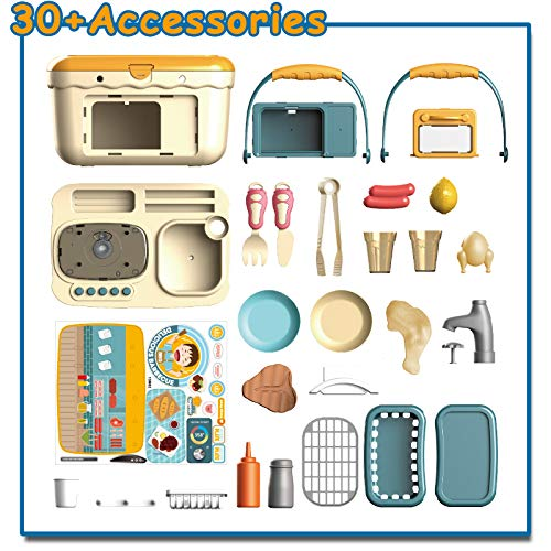 Nobie vivid Play Kitchen, Sounds and Lights,30pcs Simulation Props, Color-changing Food Accessories, Faucet with Running Water, Play Sink, Oven, Toy Kitchen for Toddlers