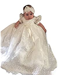 Newdeve Baby-girls Lace Beads Infant Toddler White Christening Gowns Long