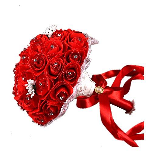 Awayyang Wedding Bouquet, Bridesmaid Bouquet Bridal Bouquet with Crystals Soft Ribbons - Vegas Las Near Shopping