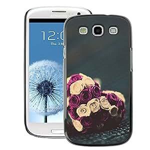 A-type Arte & diseño plástico duro Fundas Cover Cubre Hard Case Cover para Samsung Galaxy S3 (Rose Love Valentines Bouquet Floral)
