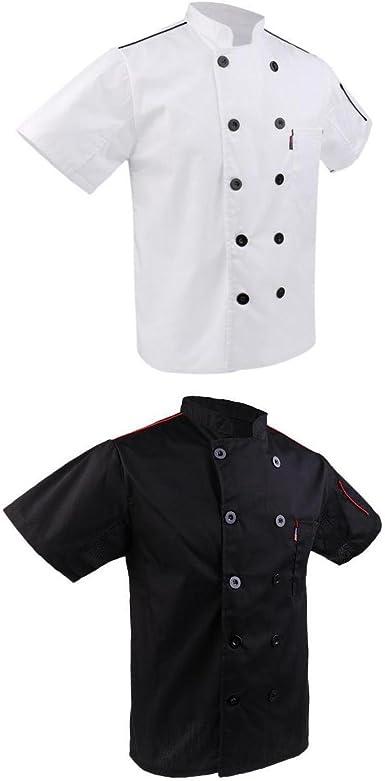 Fenteer 2x Chaqueta Cocinero Chef Blanco Negro Ropa de ...