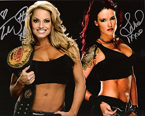 TRISH STRATUS and LITA - FORMER PRO WESTLERS - Signed 10x8 Color Photo - Autographed Wrestling Photos (Stratus Wrestling Trish)