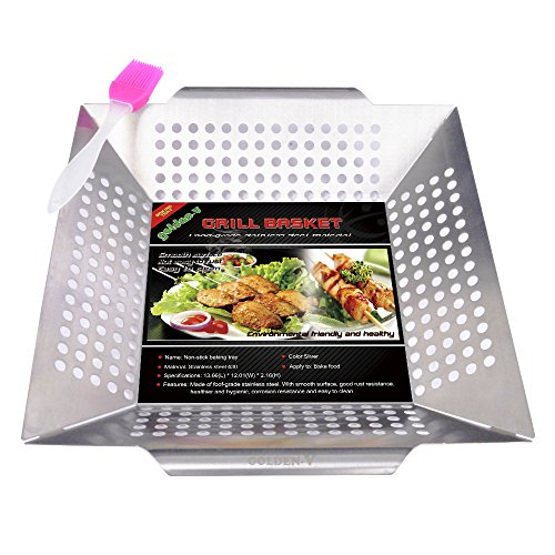 Golden V Stainless Steel Nonstick Grill Basket for Vegetable Fish Shrimp Chicken Seafood with Silicone BBQ Brushes