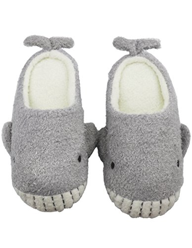Forucreate Women's Whale Fuzzy House Slippers Animal Fur Slippers Warm Cozy House Shoes (Grey& White Small)