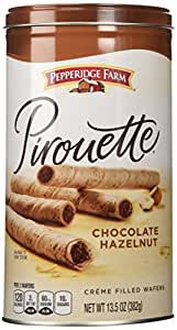 Pepperidge Farm Crème Filled Pirouette Rolled Wafers, Chocolate Hazelnut, 13.5-ounce can