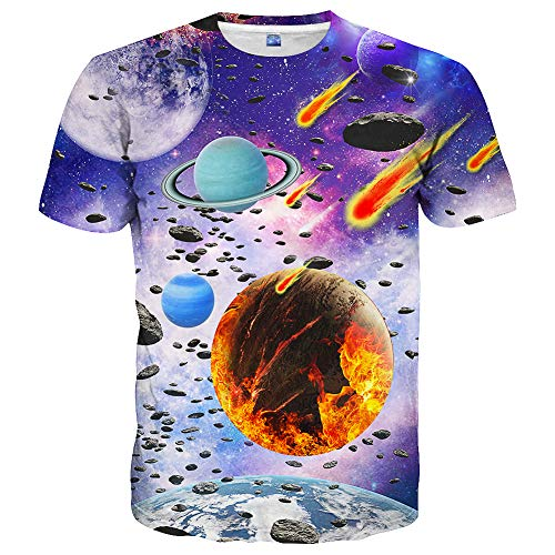 Hgvoetty Unisex Creative Space Shirt for Juniors Adults 3D Novelty Galaxy Tshirts M -