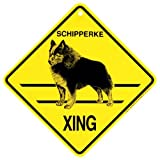 KC Creations Schipperke Xing Caution Crossing Sign Dog Gift