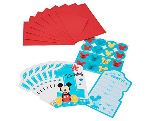 1st Birthday Invite - American Greetings Mickey Mouse 1st Birthday Invite Postcards (8 Count)