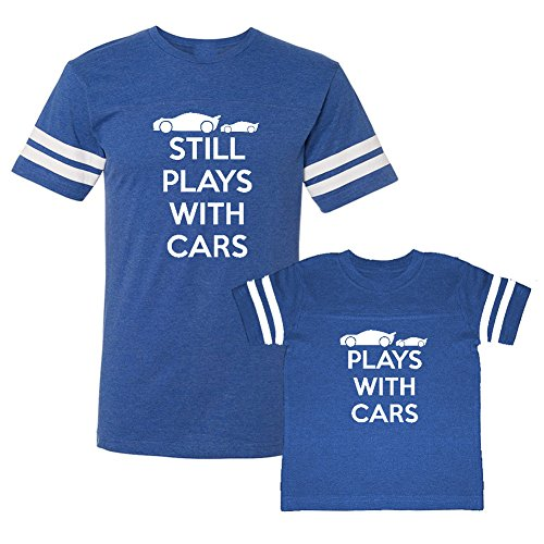 We Match! Plays with Cars & Still Plays with Cars Matching Adult Football T-Shirt & Child T-Shirt Set (3T T-Shirt, Adult T-Shirt XL, Royal)