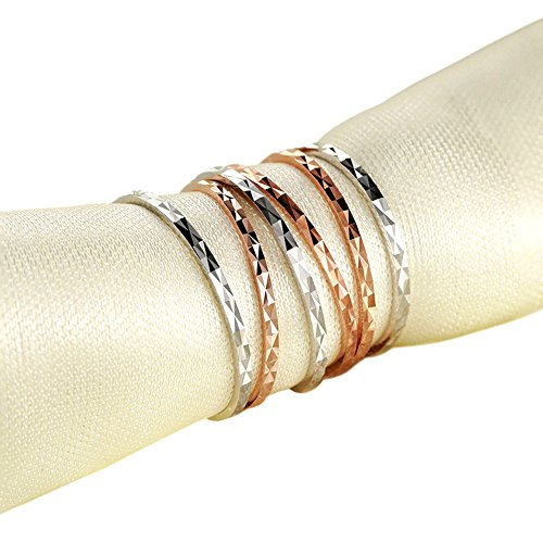 Paialco Sterling Silver Skinny Midi Ring Band for Women 2mm #4, White Gold Plating ()
