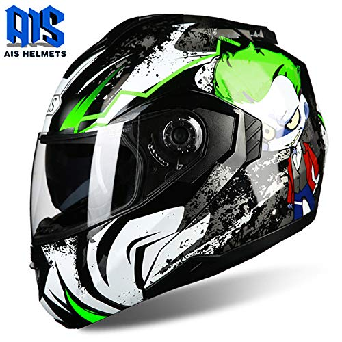 - CAJUXI Green-Haired Alien Motorcycle Helmet, Adult Double-Lens Locomotive Motorcycle ATV Unveiled Full Face Helmet, Four Seasons Universal DOT/ECE Certified Helmet,L:58~59cm