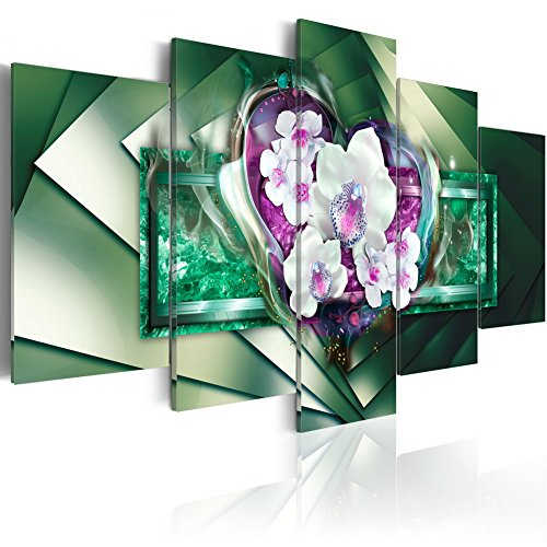 Everlands Art Giant Green Crystal White Orchid Flower Painting