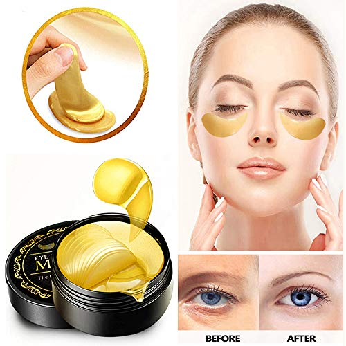 51q2jm4VM4L - Under Eye Patches, 24K Gold Eye Mask, Eye Gel Pads Collagen Eye Treatment Masks Reduces Wrinkles and Puffiness Lighten Dark Circles Moisturizing and Anti Aging 60PCS