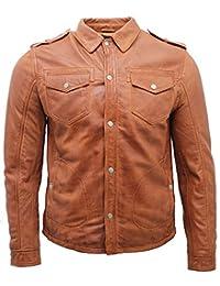 Men's Tan Vintage Jeans Leather Shirt Jacket